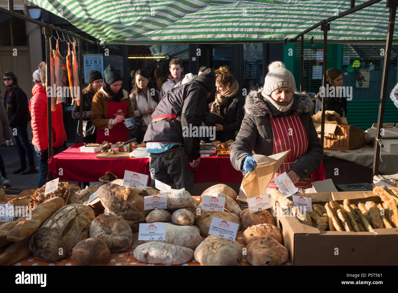 Handmade, Artisan Bread For Sale at the Weekly Broadway Street Market, Hackney, London, England, Europe. Stock Photo