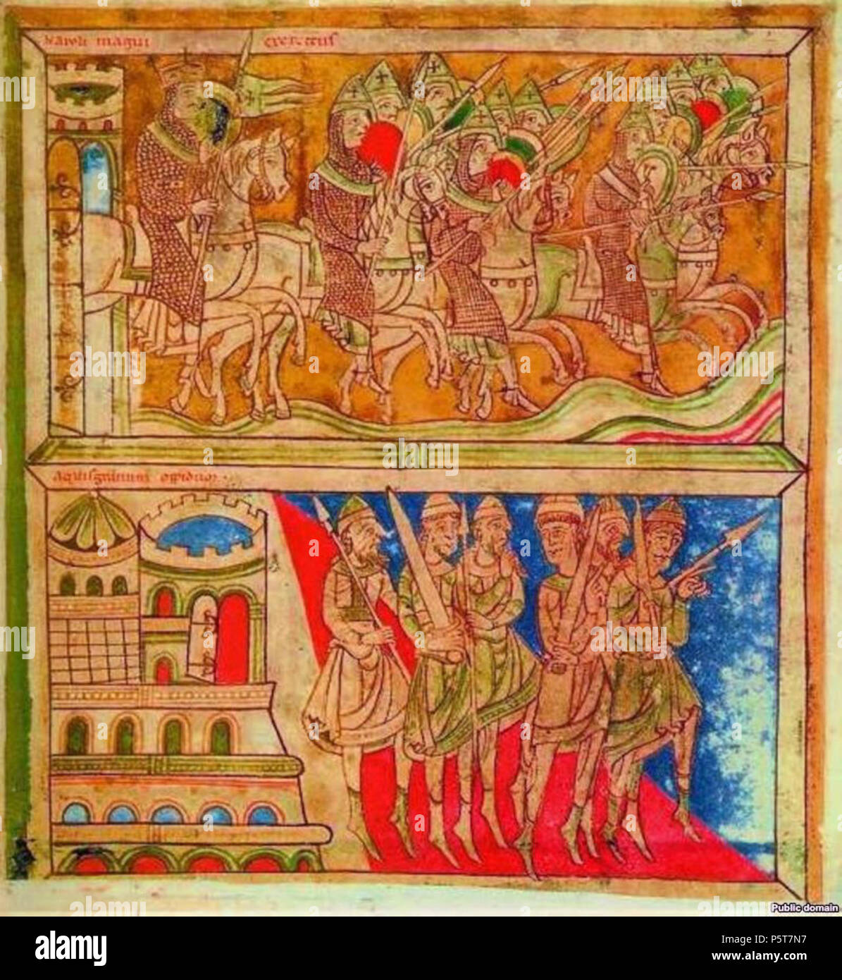 N/A.     This file was uploaded with Commonist.  Codex Calixtinus (Liber Sancti Jacobi), 1135-1139AD Folio 162v Charlemagne, Roland and the Knights on their way to Compostela, Spain Held in the Cathedral of Santiago de Compostela, Galicia (Spain) . 1135-1139AD. Liber Sancti Jacobi 324 Charlemagne, Roland and the Knights on their way to Compostela, Spain - Stock Image
