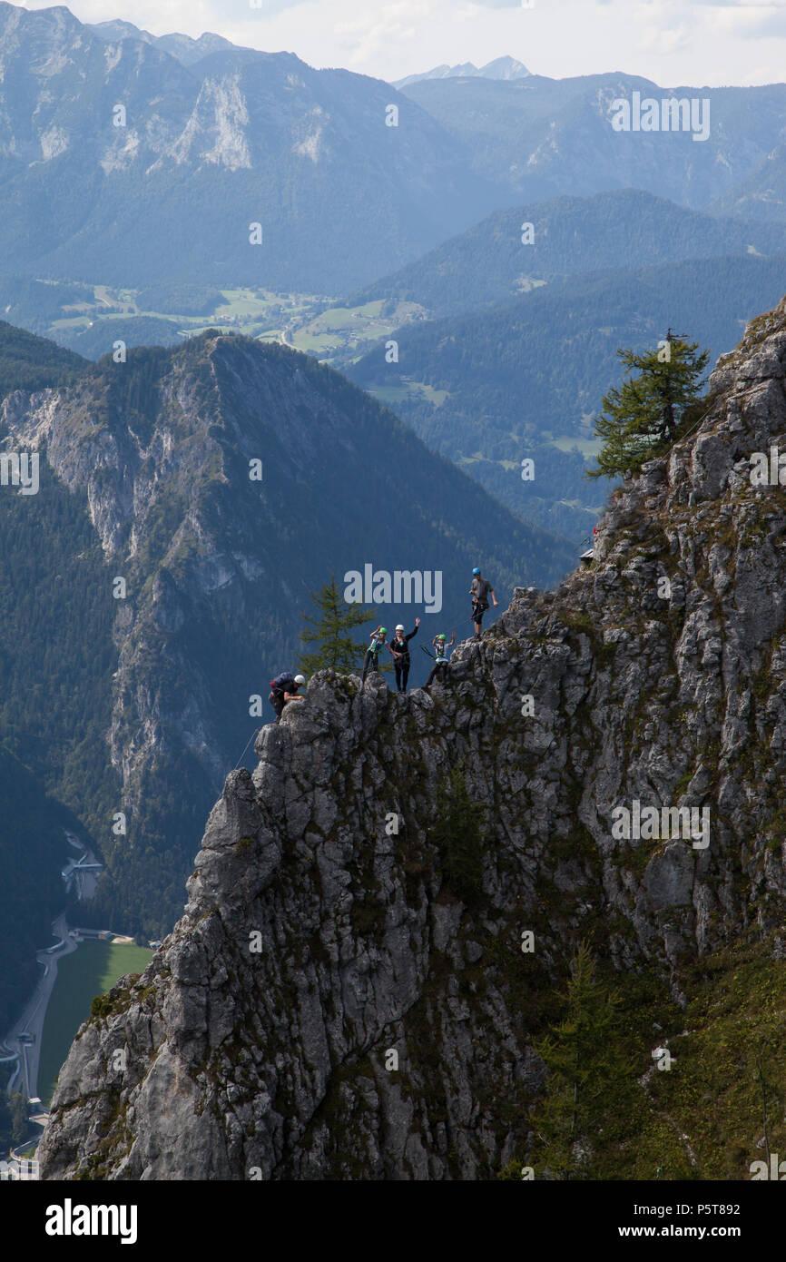 Klettersteig am Jenner Berchtesgadener Land Bergpanorama Bergabenteuer, Mountain near Berchtesgaden - Stock Image