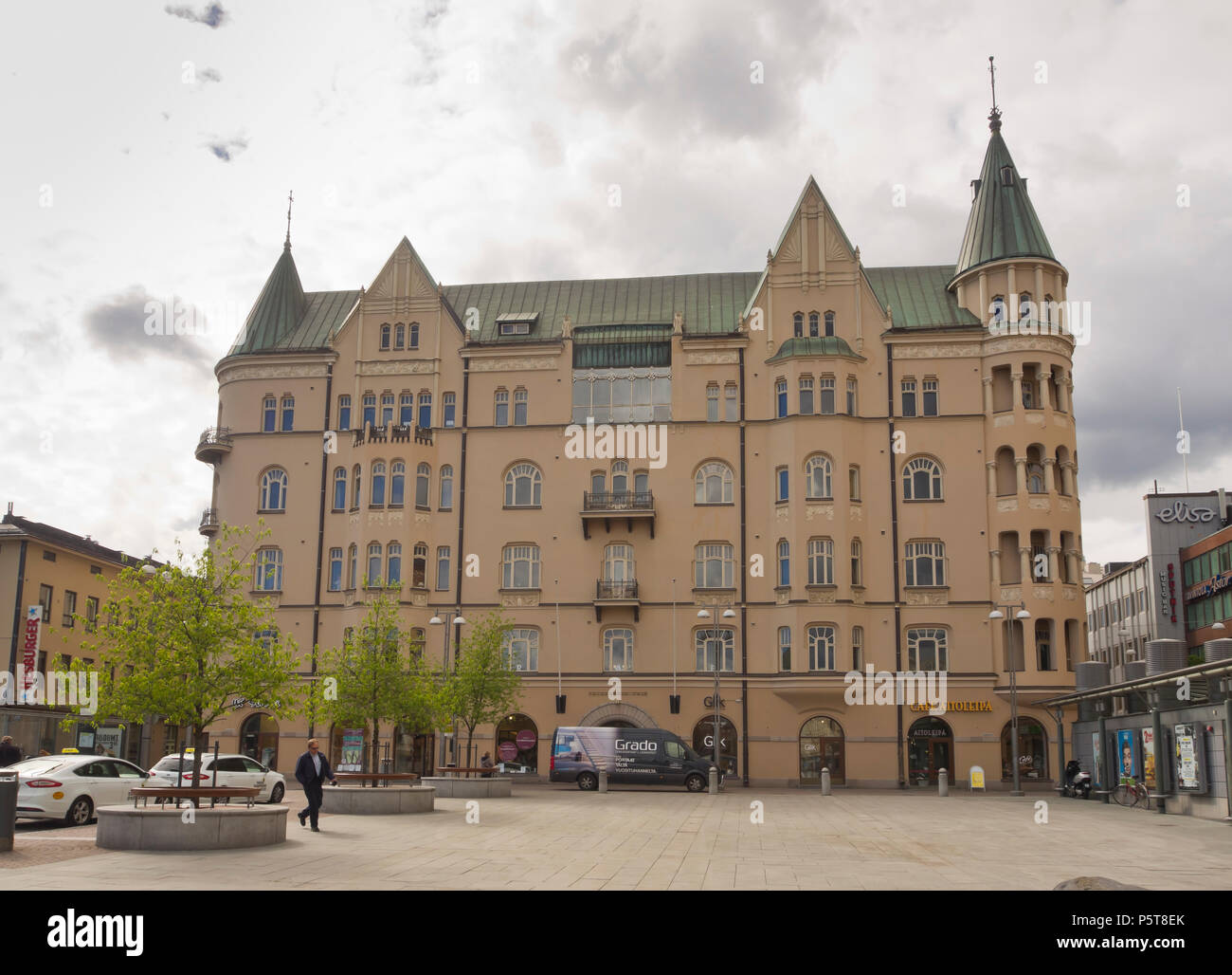 Art Noveau building in the centre of Finlands second largest city Tampere - Stock Image