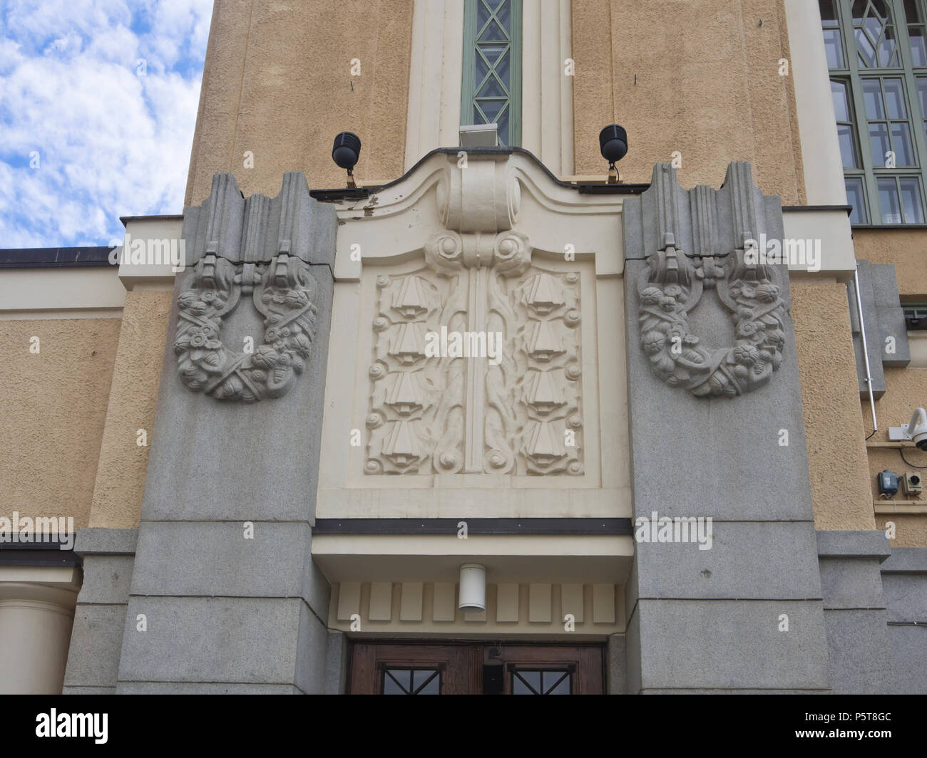 Tampere Theater at the Central square in Finlands second largest city, detail of the decorated facade - Stock Image