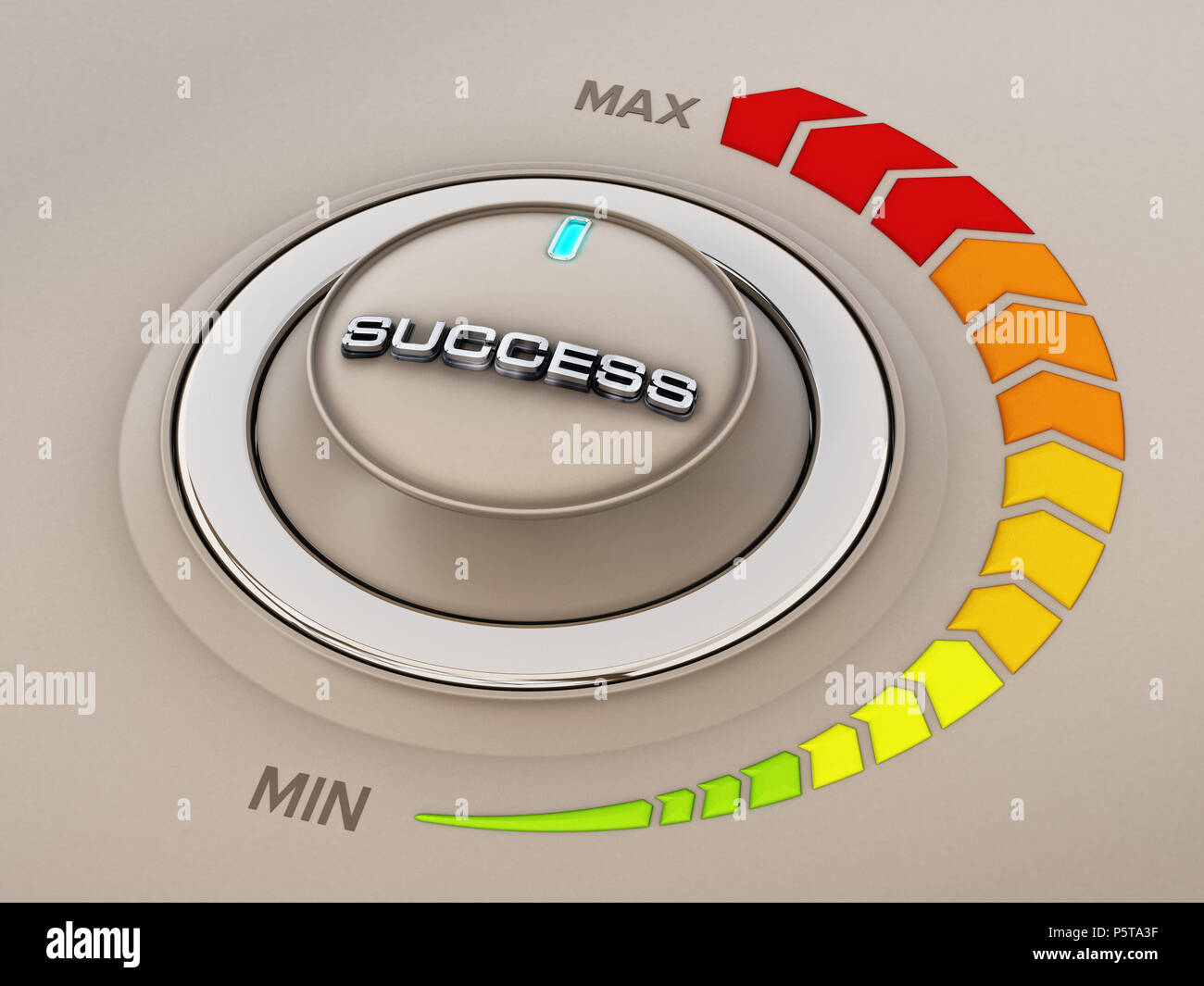 Vintage style control knob dial with success word. 3D illustration. - Stock Image