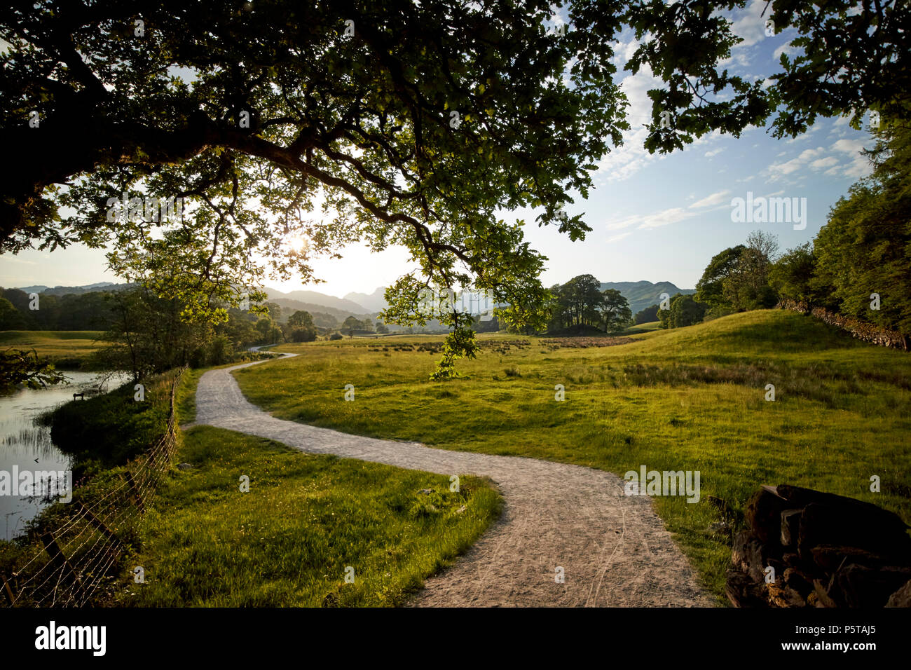 farmland and right of way winding path near skelwith in the lake district england uk - Stock Image