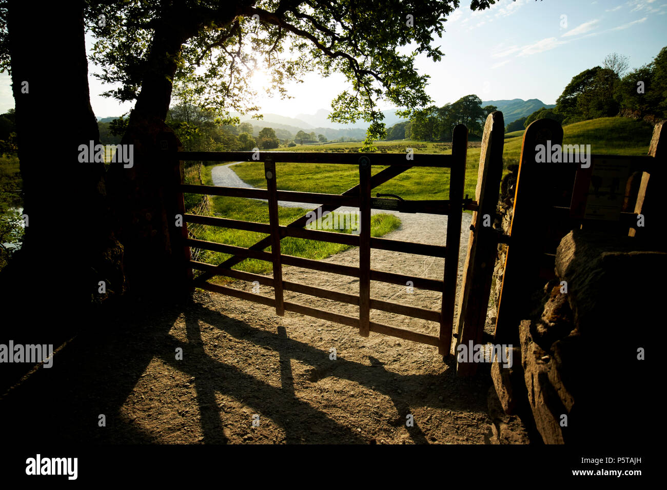 gate accessing farmland and right of way path near skelwith in the lake district england uk - Stock Image