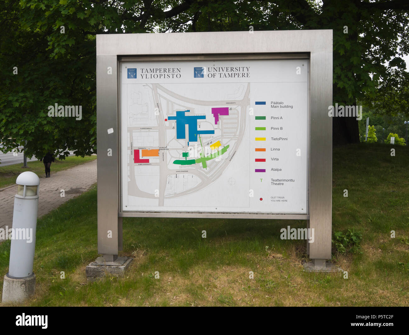 The University of Tampere in Finland, information board at the entrance with overview of the building complex - Stock Image
