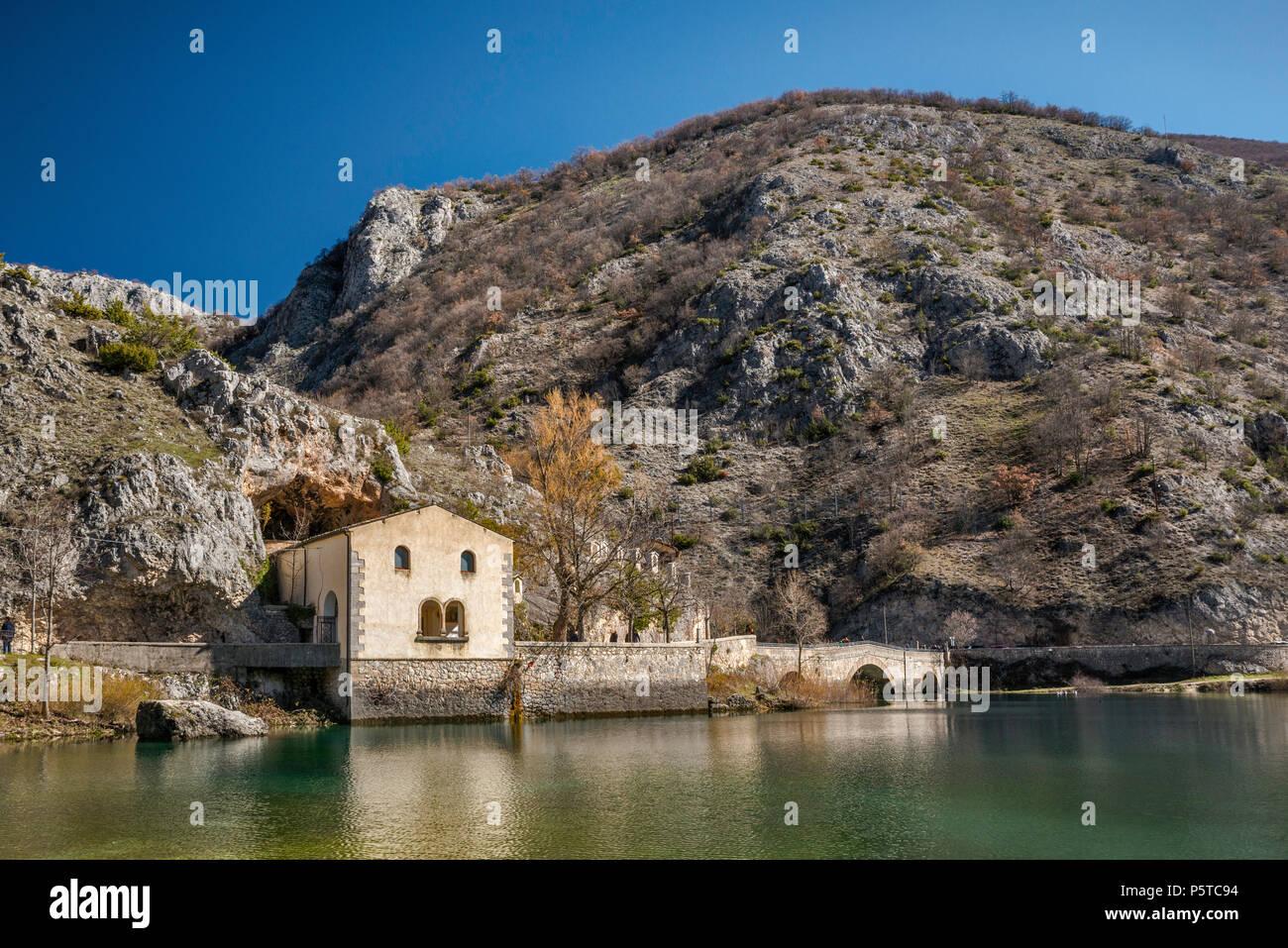 Hermitage of San Domenico, at Lago di Scanno, lake in Sagittario Gorges near town of Scanno, in Abruzzi Massif, Central Apennines, Abruzzo, Italy - Stock Image