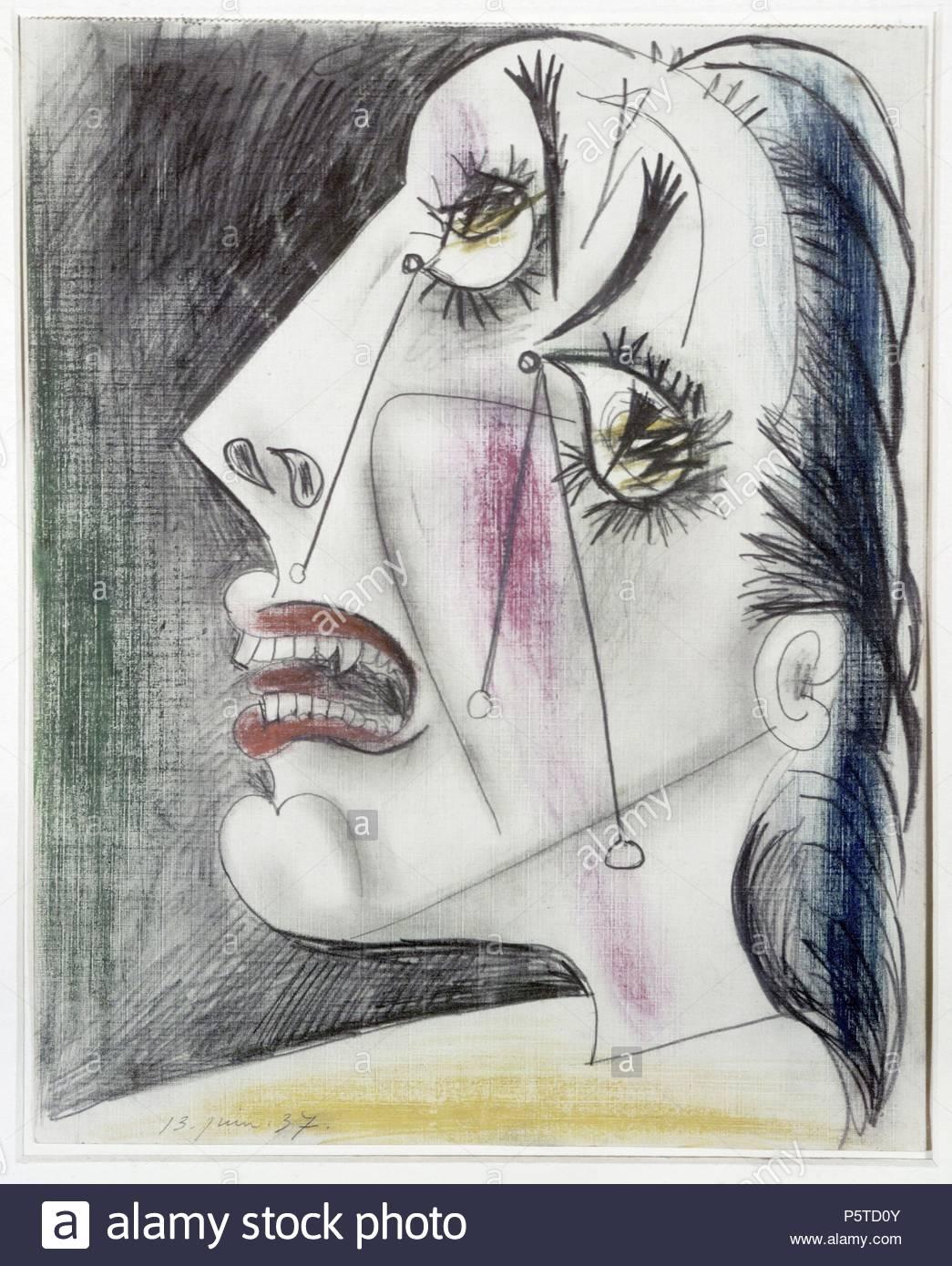 Pablo Picasso / 'Woman Crying (Study for Guernica)', 1937, Pencil on paper, 29 x 23 cm. Artwork also known as: Mujer llorando (estudo para Guernica). Museum: Museo Nacional Centro de Arte Reina Sofía (MNCARS). - Stock Image