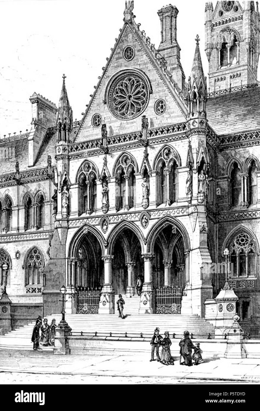 N/A. English: engraving of Manchester Assize courts . 1872. Charles Locke Eastlake d.1906 143 Assize - Stock Image