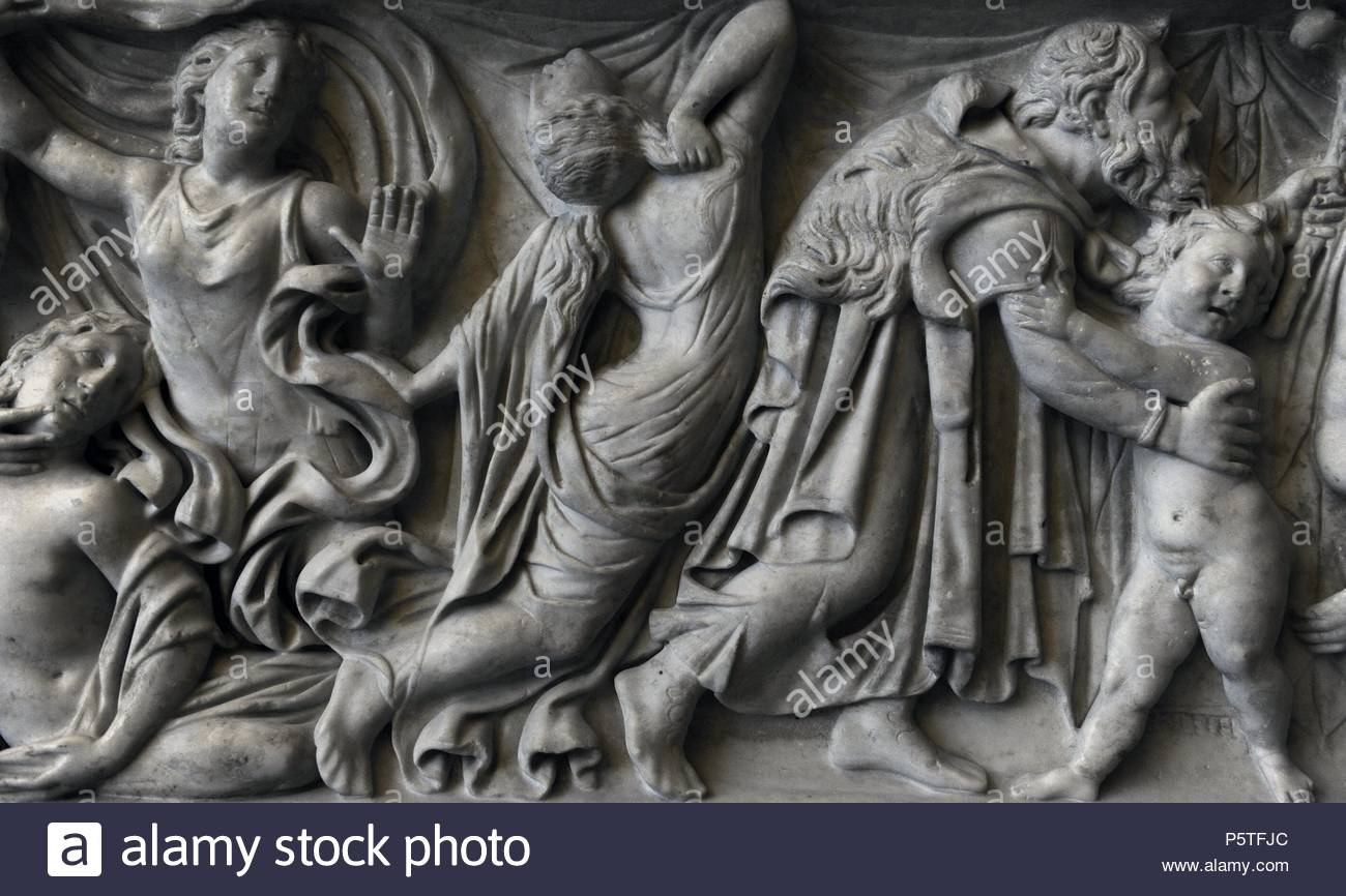 Roman sarcophagus. About 160 AD. Apollo and Artemis kill Niobe's 14 children. Revenge of Leto. Send your children Apollo and Artemis killing the children of Niobe. Detail: right, goddess Artemis. Left Amphion with child. Glyptothek. Munich. Germany. - Stock Image