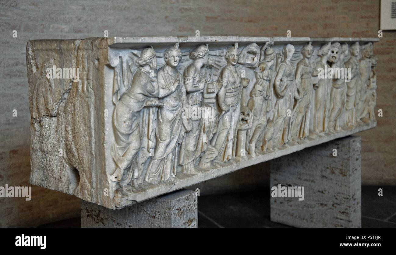 Roman sarcophagus. About 180 AD.  Goddess Athena, God Apollo and the nine Muses (goddesses of the inspiration of literature, science and the arts. Reliefs. Glyptothek. Munich. Germany. - Stock Image