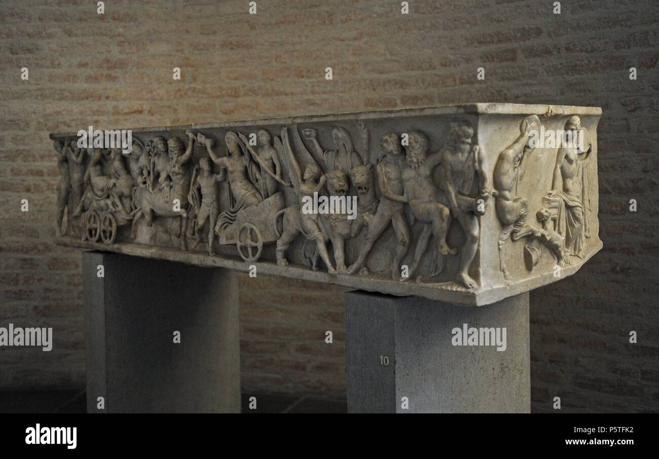 Roman sarcophagus. About 140 AD. Marriage of Dionysus and Adriadne. Glyptothek. Munich. Germany. Stock Photo