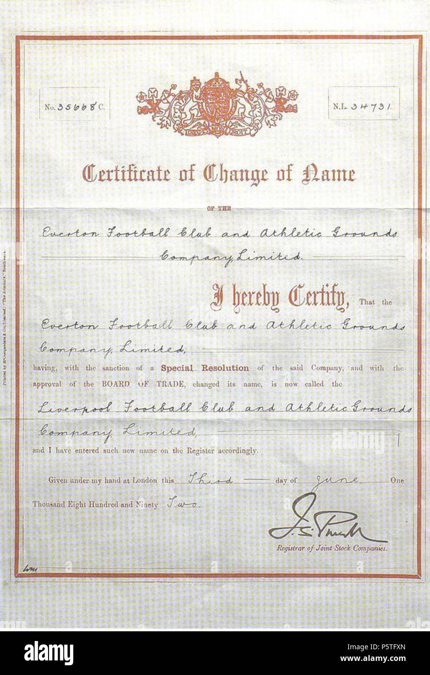 N/A  English: The 1892 certificate changing the name of