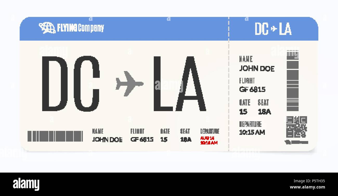 Realistic airplane template. Modern airline admission. Boarding pass ...