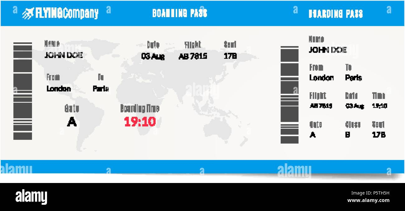 Airplane boarding pass design. Plane travel ticket illustration. Air ...