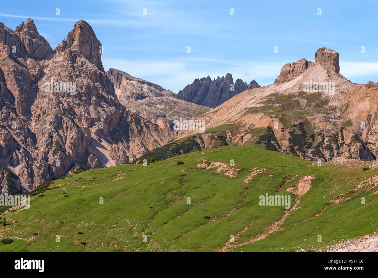torre dei scarperi, Dolomites, Veneto, Belluno, Sexten, Italy, Europe - Stock Image