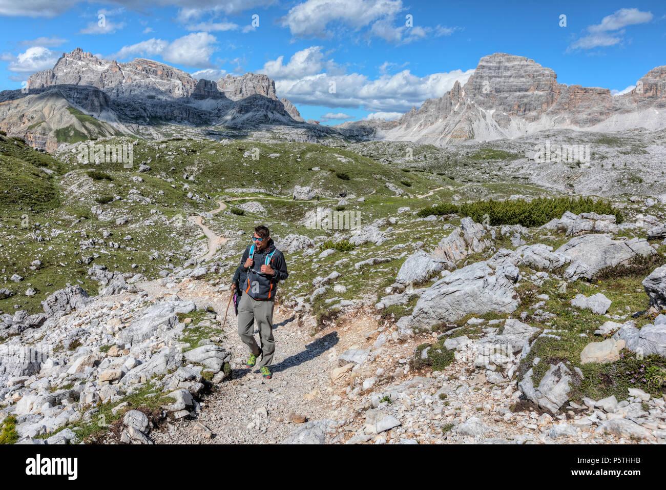 hiking around Tre Cime di Lavaredo, Dolomites, South Tyrol, Belluno, Sexten, Italy, Europe - Stock Image