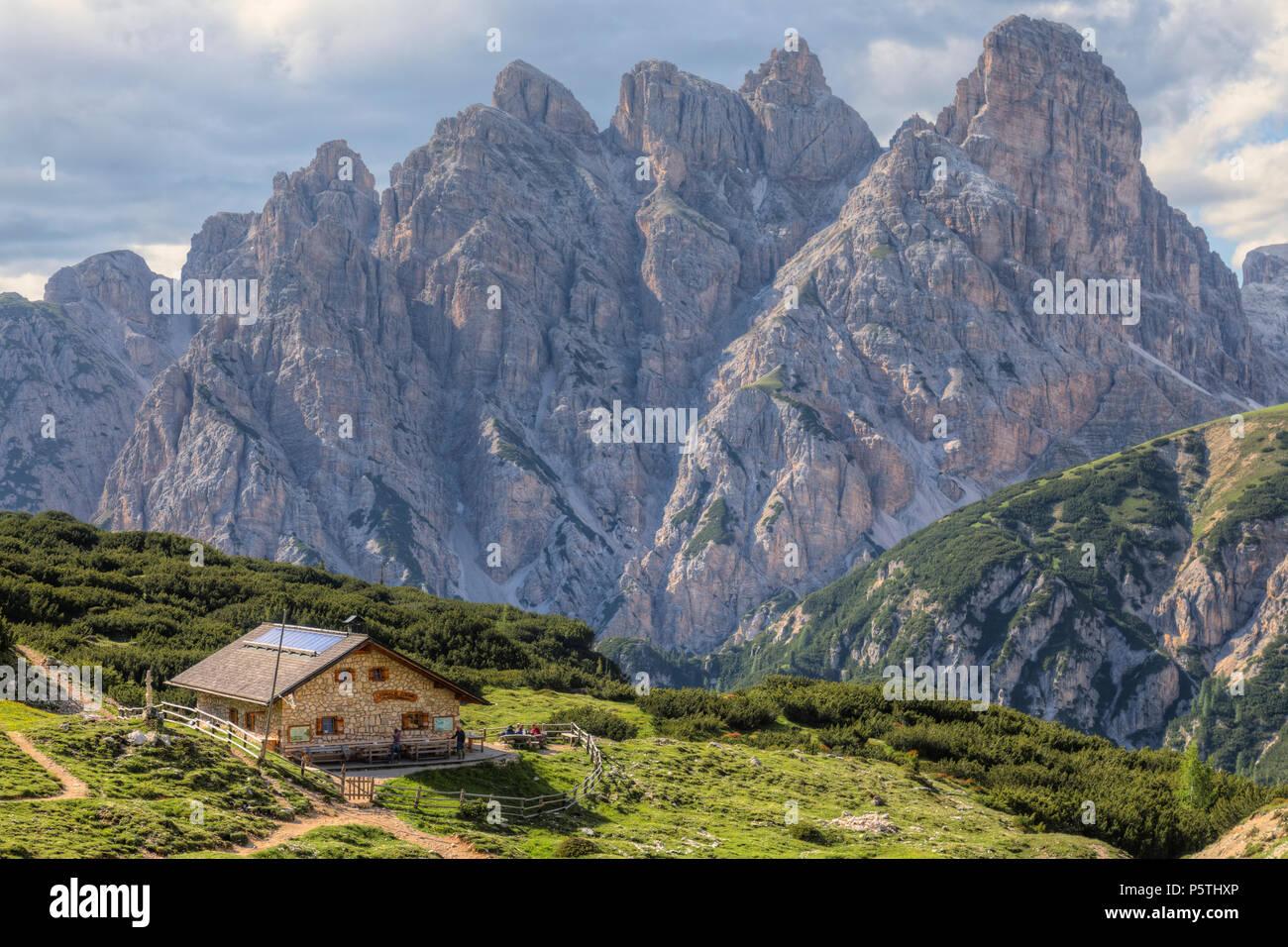 Langalm, torre dei scarperi, Dolomites, Veneto, Belluno, Sexten, Italy, Europe - Stock Image