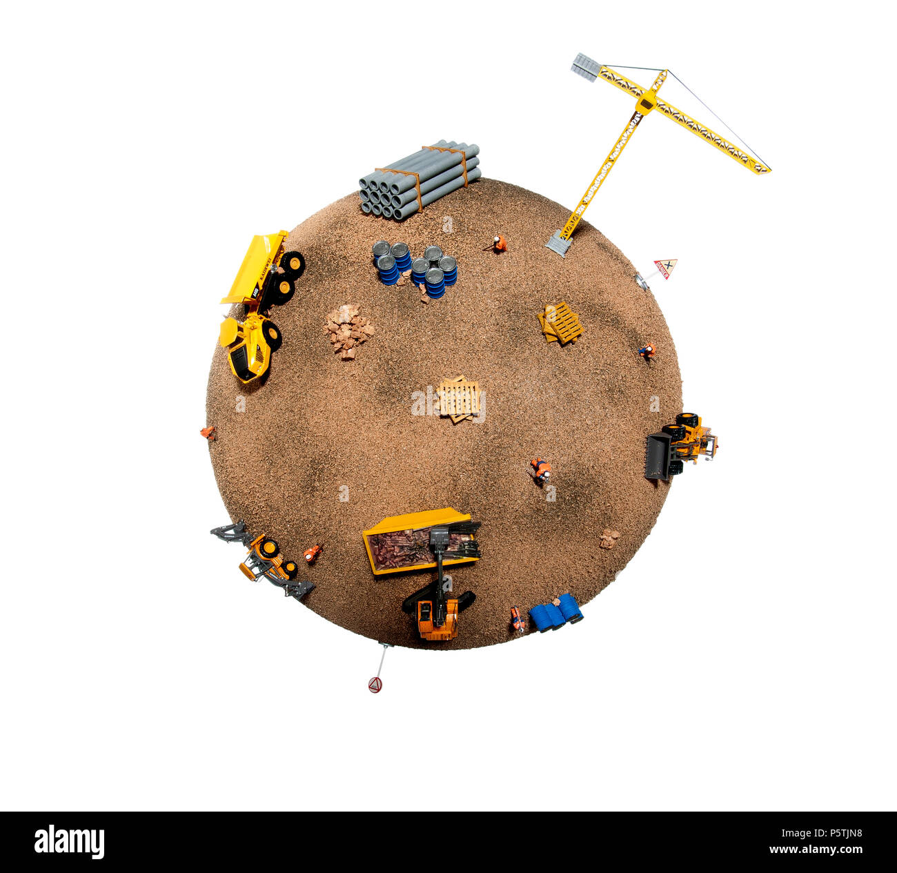 A representation of the planet showing the damage done by building and construction. - Stock Image