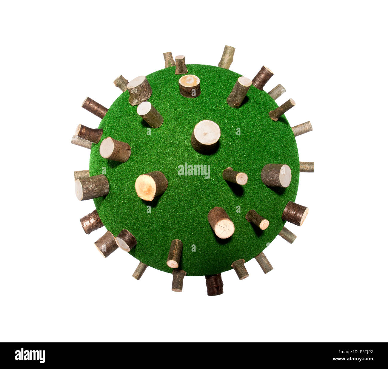 A representation of the planet showing the damage done by deforestation. - Stock Image