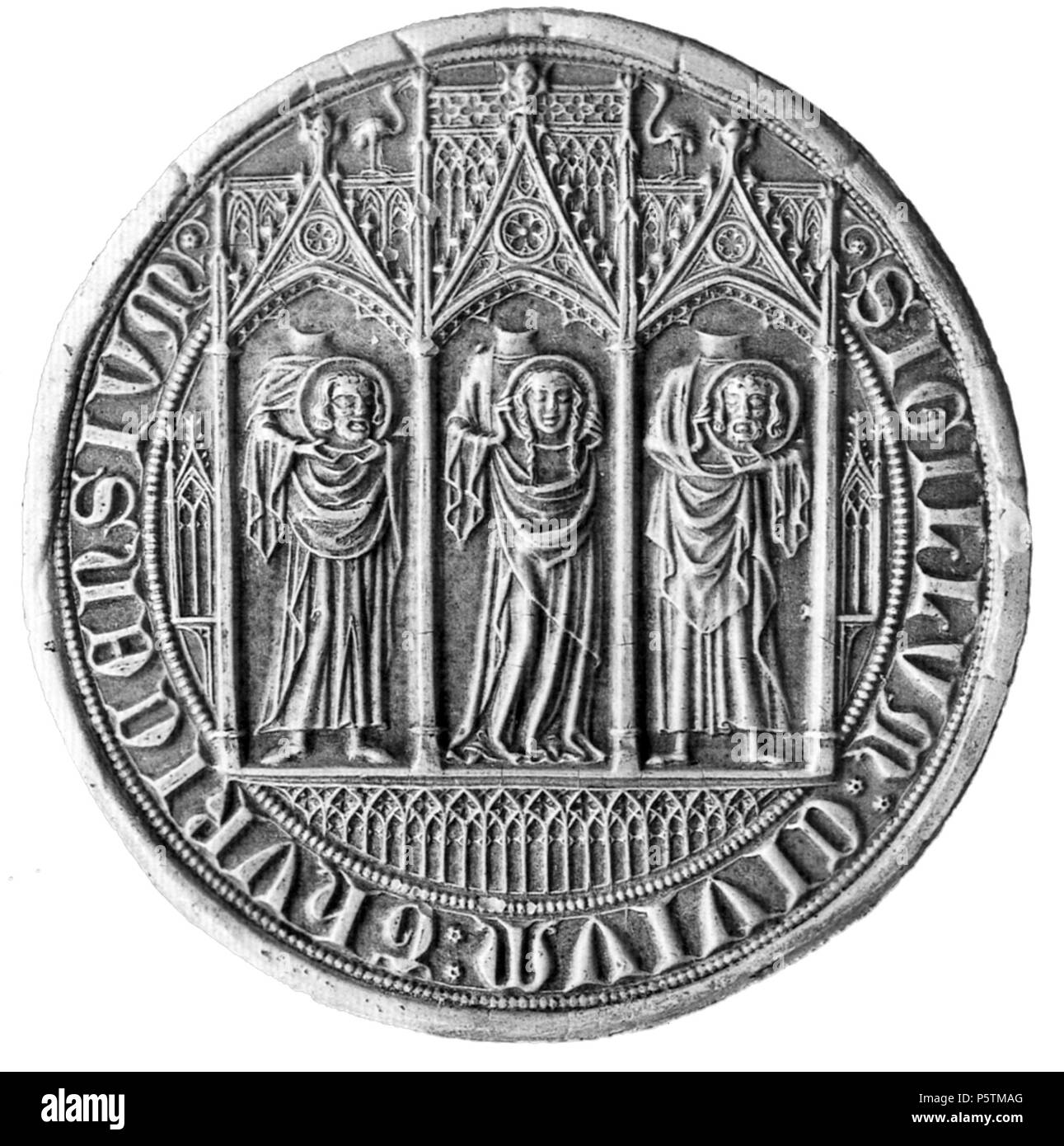 N/A. English: Seal of the city of Zürich 1347 Deutsch: Zürcher Staatssiegel von 1347. Vergoldetes Silber, Durchmesser 8 cm, Gewicht 270 Gramm. Staatsarchiv des Kantons Zürich . 1347. anonym; upload by sidonius (talk) 16:16, 19 September 2008 (UTC) 552 FelixRegula Stadtsiegel gauss sw - Stock Image