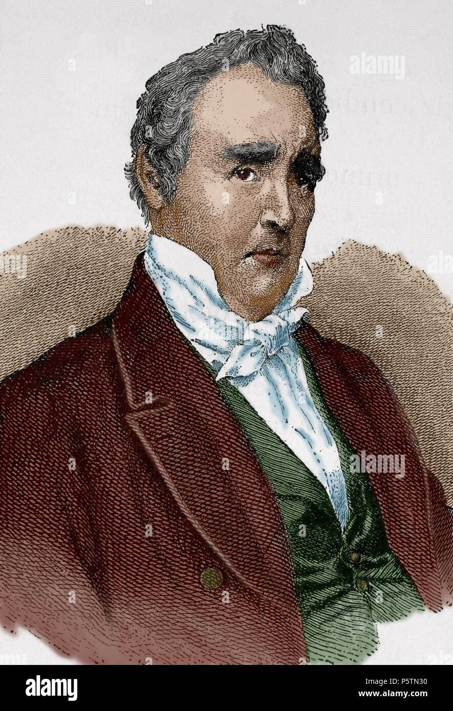 James Buchanan (1791-1868). American politician. 15th President of the United States (1857-1861). Engraving in World History, 1885. Colored. - Stock Image