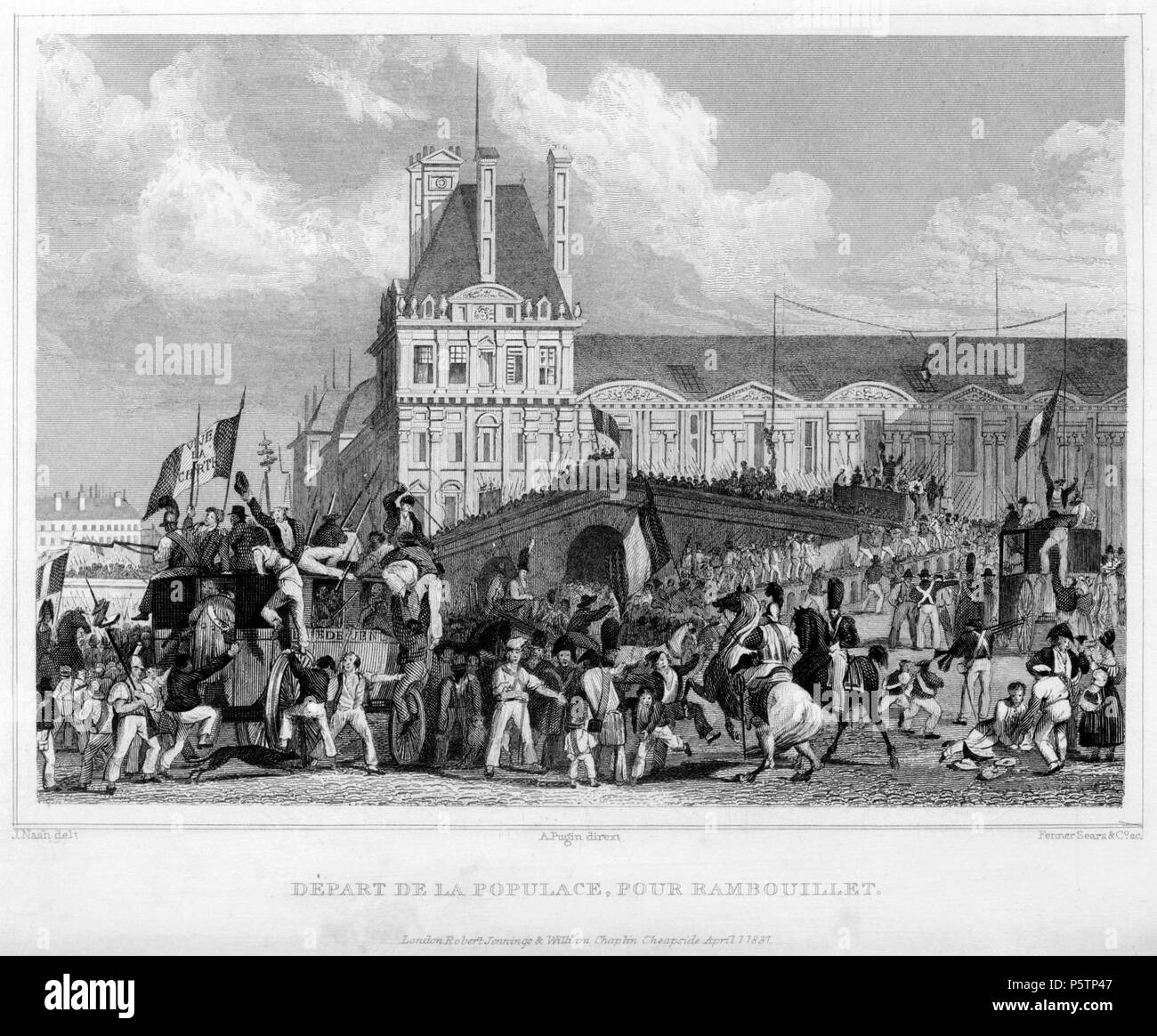 Departure of populace for Rambouillet . Catalyzed by the decreasing popularity of Charles X and the continual economic hardships of the working class, the July Revolution of 1830 ended the Bourbon monarchy and brought Louis-Philippe to the throne. The first day of violence occurred on July 27th, following the publication of the king's controversial ordinances banning freedom of the press. Protesters violently rioted throughout Paris, and the French government was forced to set up various barricades, but to little avail. By July 29th, the third and final day of fighting, the throne of Charles X - Stock Image
