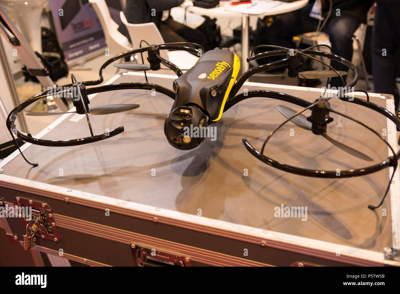 ebee drone for survillance and industrial uses from Sensefly. In GR-EX (Global Robot Expo) in Madrid 2018. - Stock Image