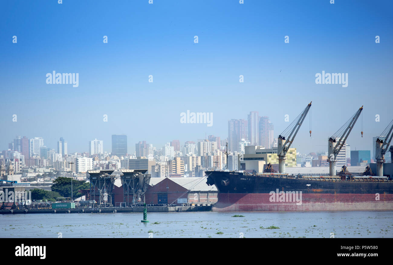 The port of Barranquilla, capital of Colombia's Atlantico department and the country's fourth largest city Stock Photo