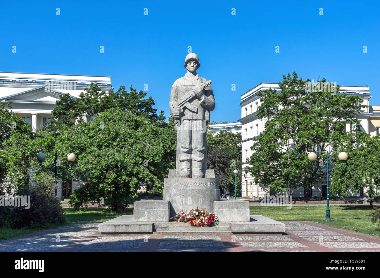 Warsaw, Poland - May 31st, 2018: Monument to soldiers of 1 Polish Army, formed by the Polish communists in the Soviet Union in 1943. - Stock Image