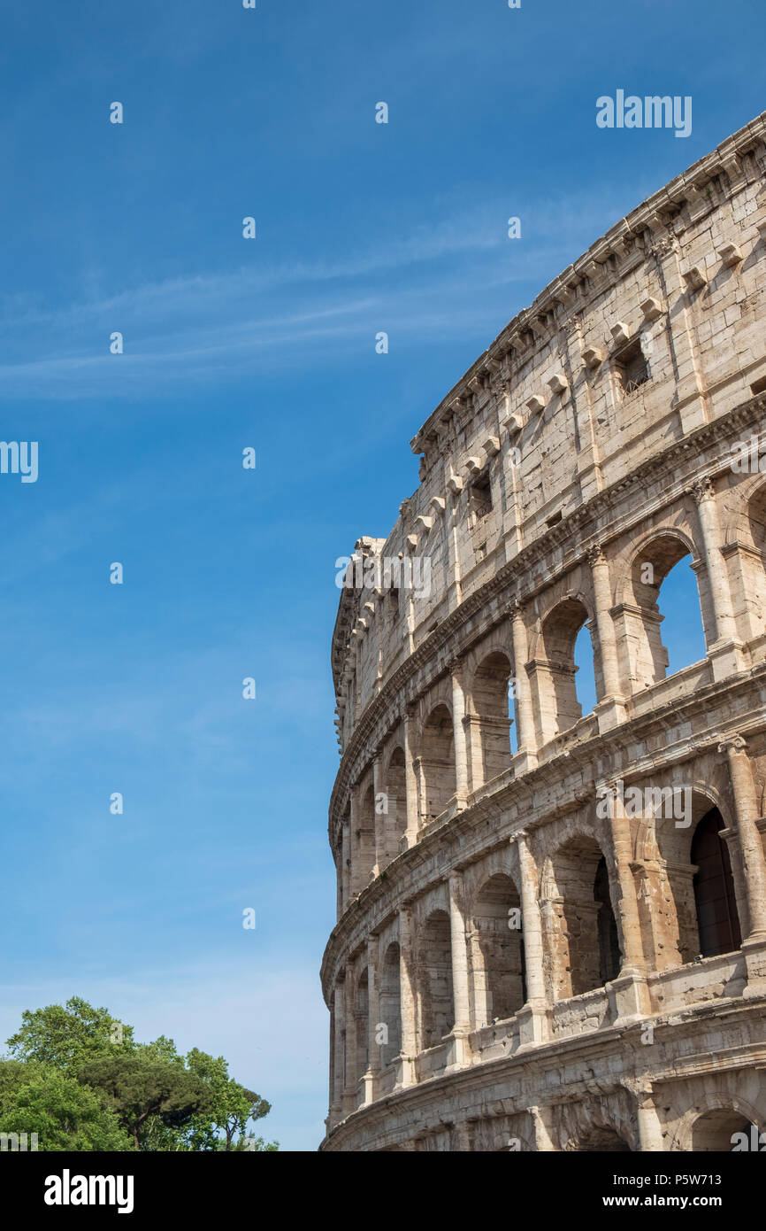 Exterior of the ancient Colosseum in Rome - the largest amphitheatre ever built - Stock Image