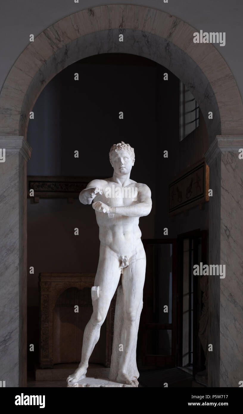 Vatican Apoxyomenos by the sculptor Lysippus, in the Museo Pio-Clementino - Stock Image