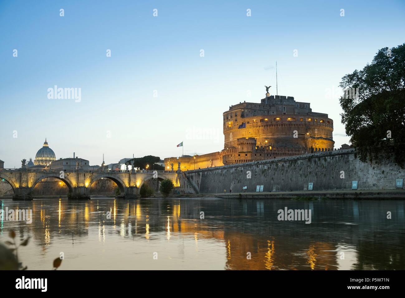Mausoleum of Hadrian or Castel Sant'Angelo and the St. Angelo bridge built by the Emperor Hadrian in Rome - Stock Image