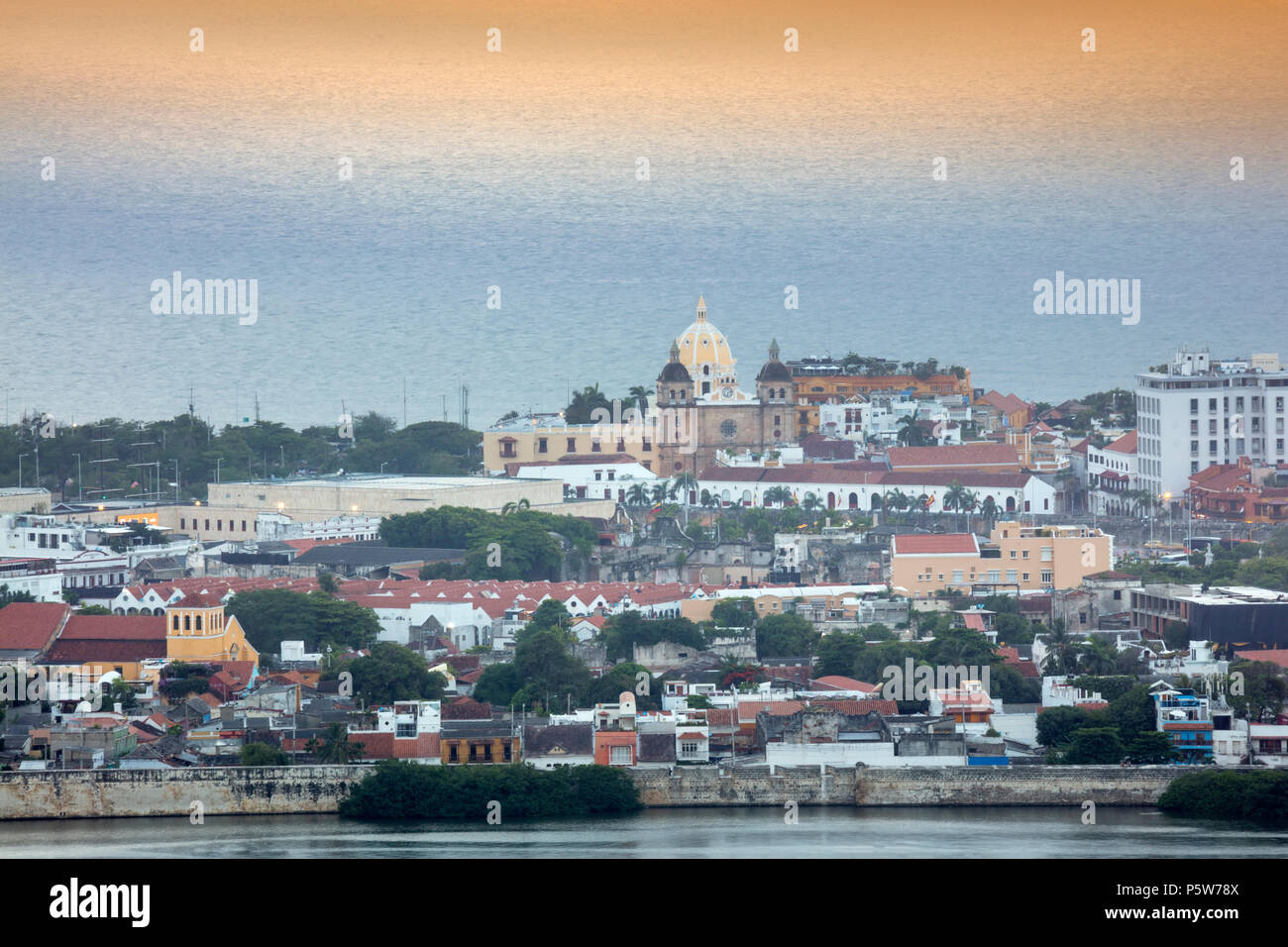 The skyline of the historical Unesco World Heritage listed centre of Cartagena city, on the Caribbean coast of Colombia, South America Stock Photo