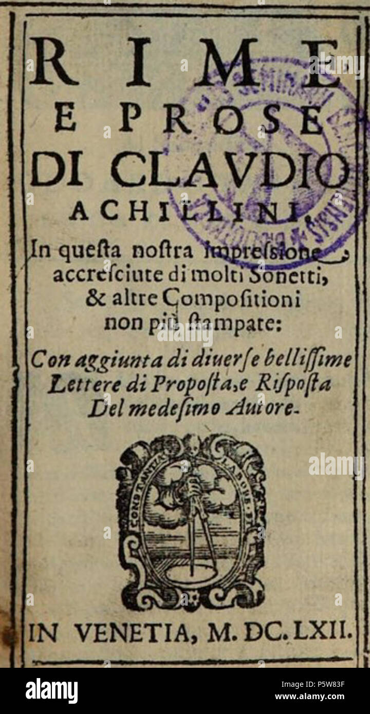 N/A. English: Rhymes and Proses by Claudio Achillini ... 1662