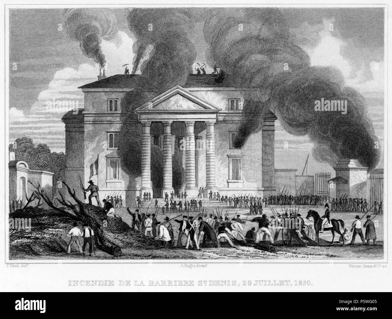 Destruction of barrier of St. Denis: July, 1830 . Catalyzed by the decreasing popularity of Charles X and the continual economic hardships of the working class, the July Revolution of 1830 ended the Bourbon monarchy and brought Louis-Philippe to the throne. The first day of violence occurred on July 27th, following the publication of the king's controversial ordinances banning freedom of the press. Protesters violently rioted throughout Paris, and the French government was forced to set up various barricades, but to little avail. By July 29th, the third and final day of fighting, the throne of Stock Photo