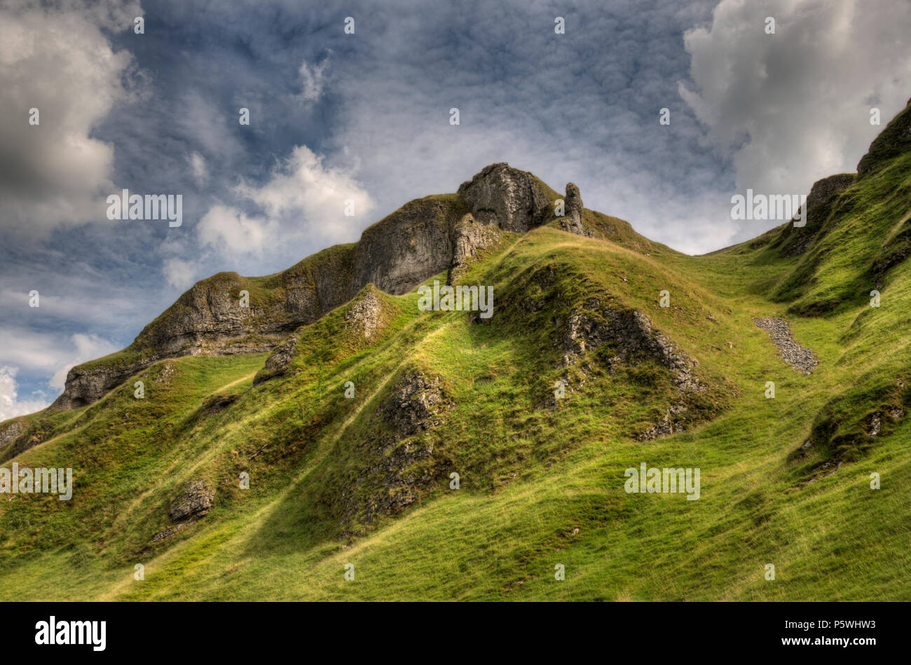View of the mountains at Castleton, Derbyshire - Stock Image