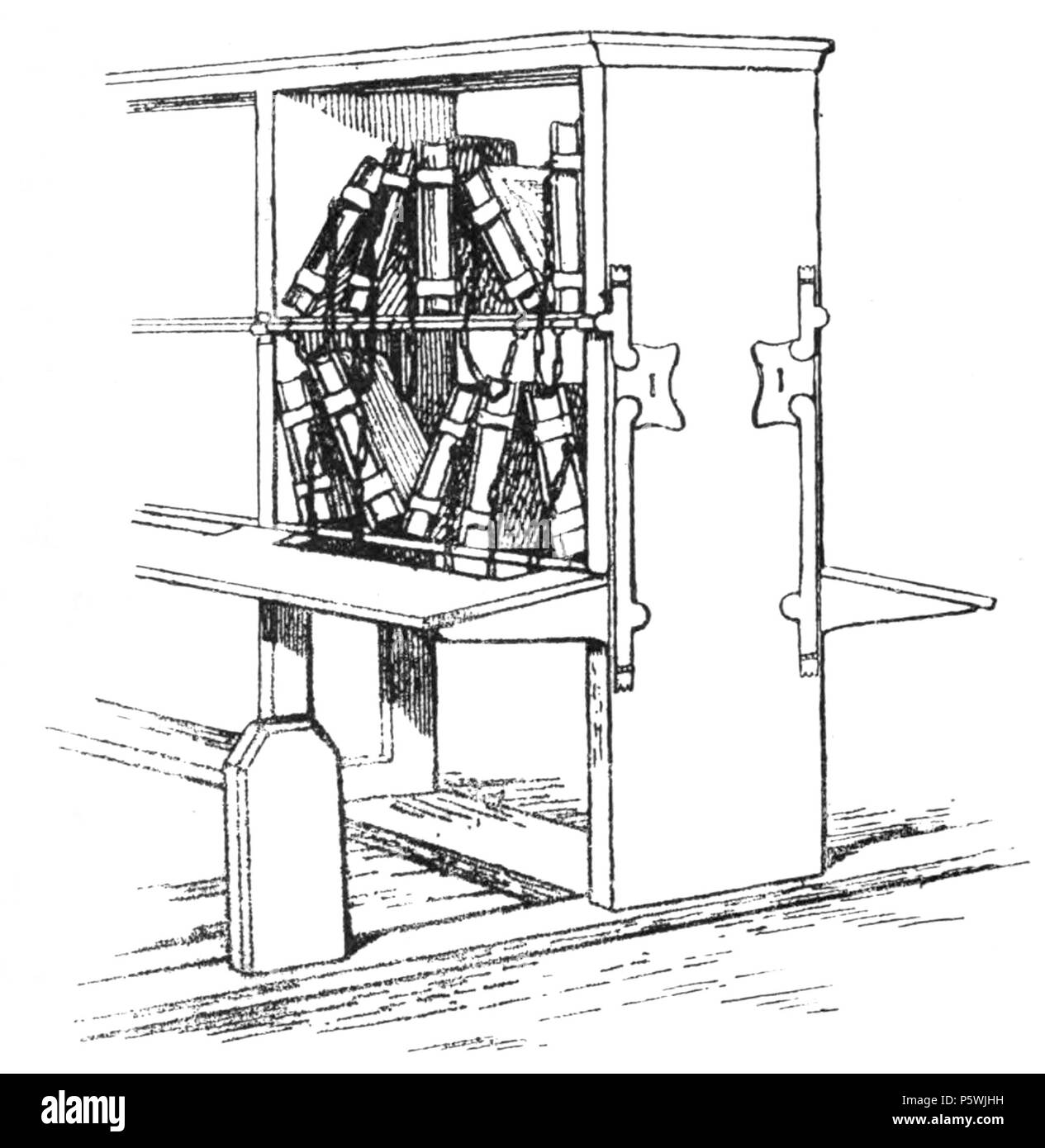 446 Diagrammatic Sketch Of A Bookcase With Reader S Desk And