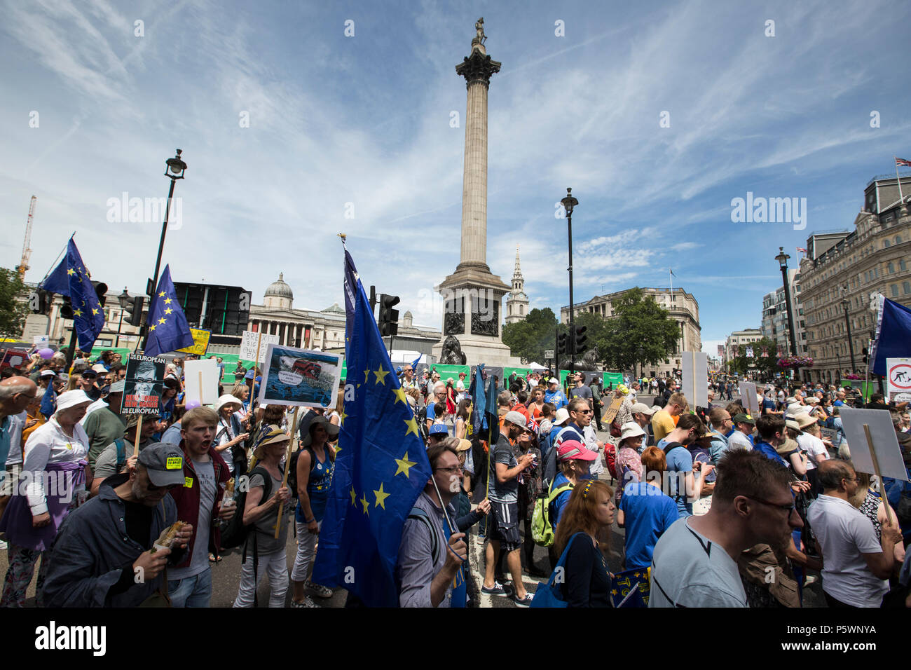 Biggest ever pro-European march held on 23rd June for a People's Vote. The protest coincides with the second anniversary of the Brexit referendum. - Stock Image