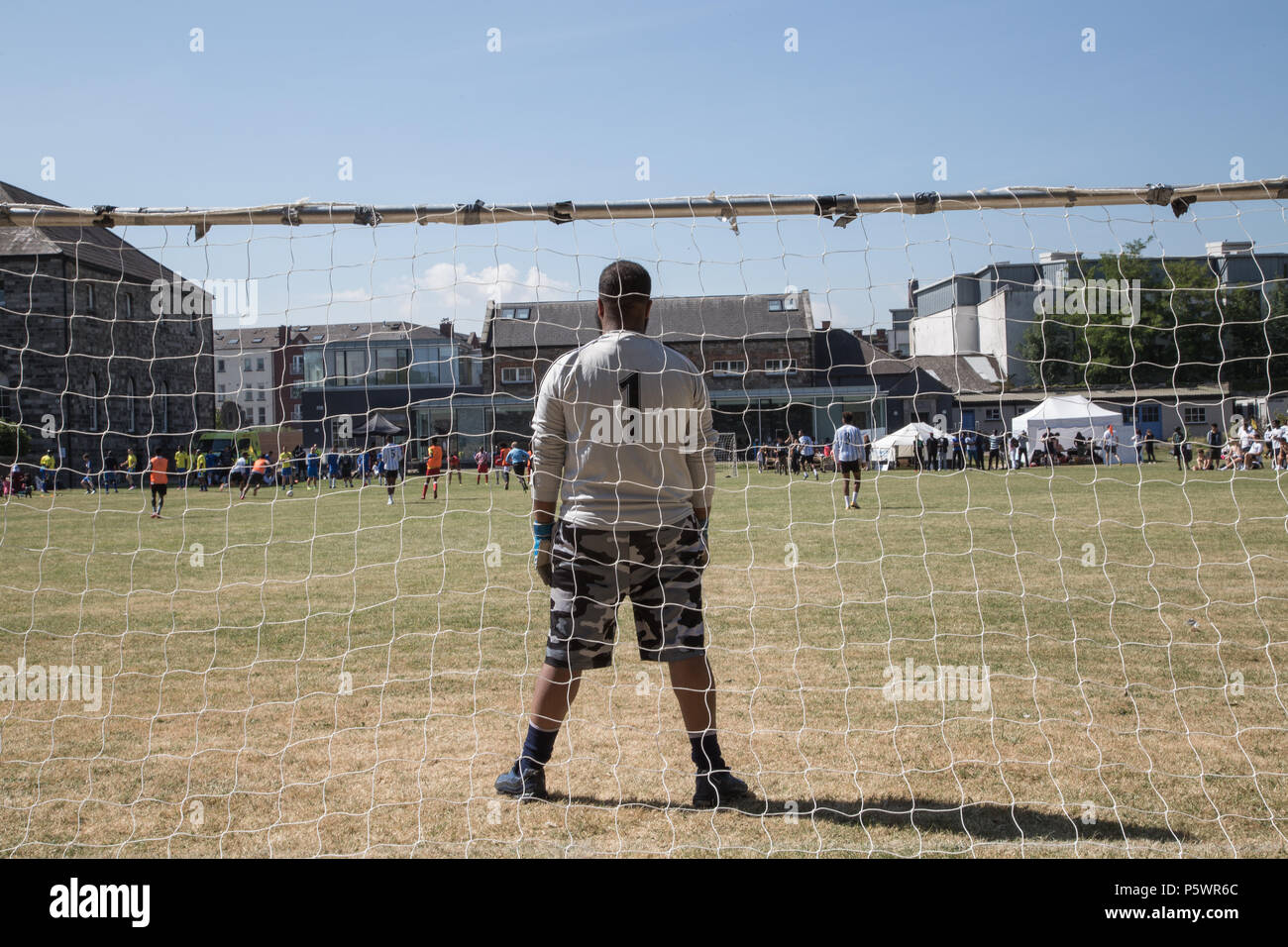 A goalkeeper waiting for penalty shoot out. - Stock Image