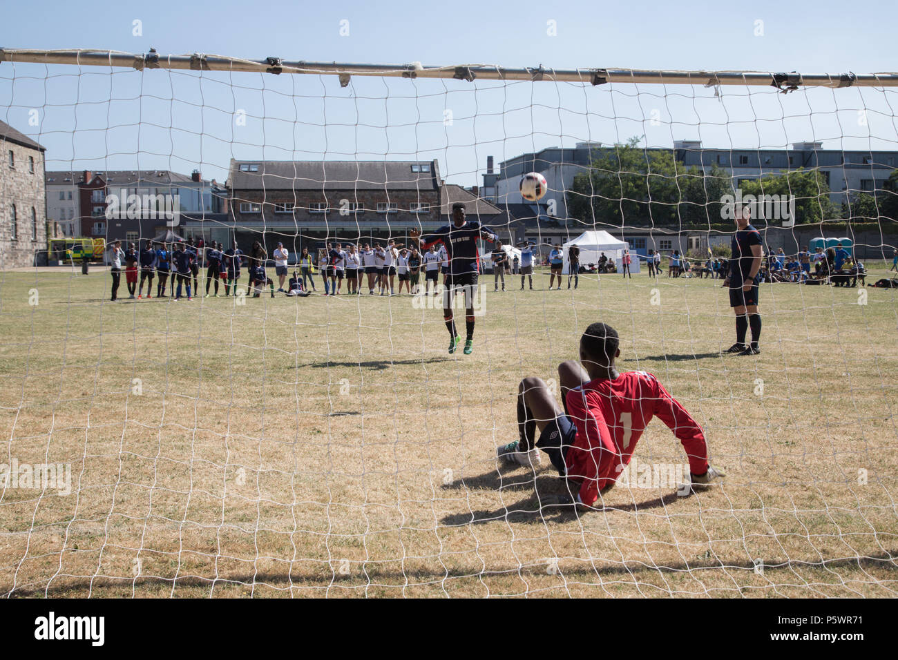 Goalkeeper making a save in penalty shoot out. - Stock Image