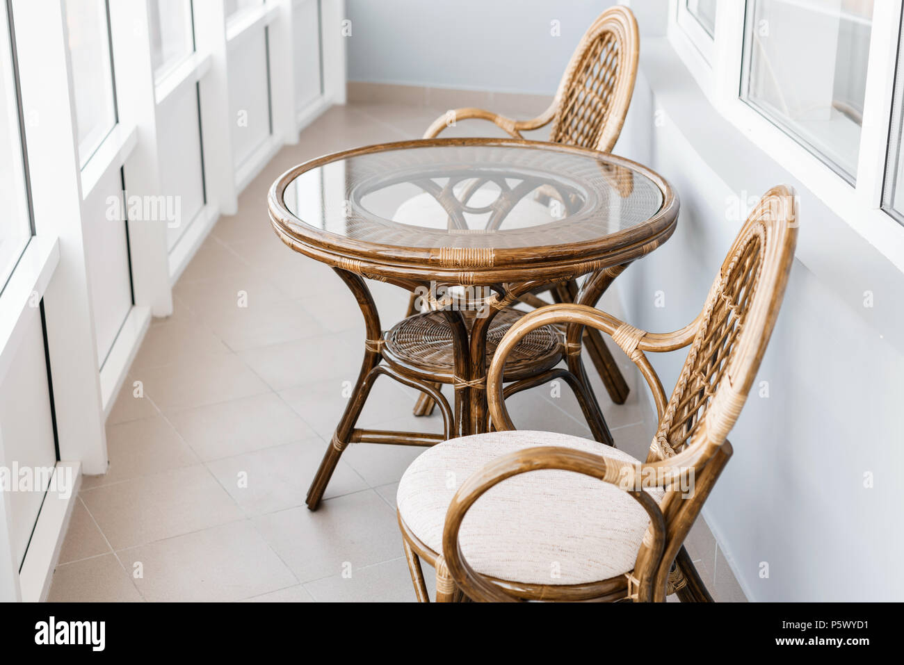 Peachy Glass Table And Rattan Wicker Seat Chair Wicker Furniture Beutiful Home Inspiration Aditmahrainfo