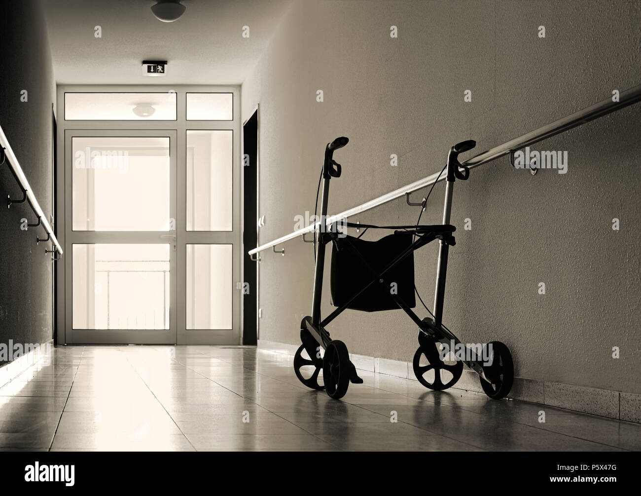 Corridor in a nursing home - Stock Image