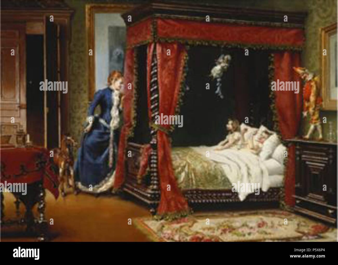 N/A. English: Bed Time . before 1900. Oreste Cortazzo (1836-1910) 382 Cortazzo-Bed - Stock Image