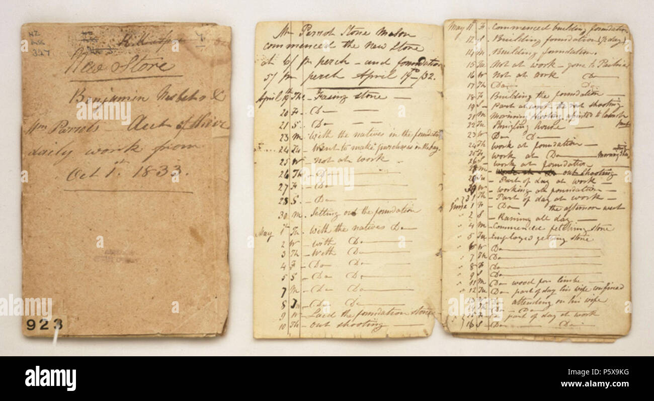 N/A. English: Account book detailing the daily labour of the stone mason William Parrott during the construction of the Stone Store, Kerikeri for the Church Missionary Society . Unknown 459 Documents concerning the building of the store and mill house at Kerikeri, 1832-35 - Stock Image