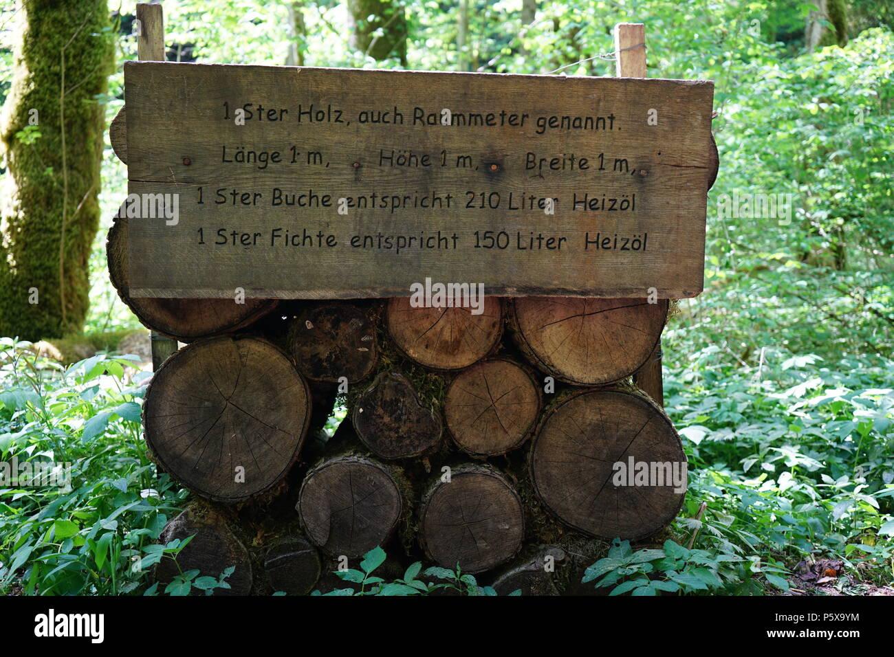 1 Ster Holz, Wanderweg durch die Gauchachschlucht, Drei-Schluchten-Wanderung, Nebenschlucht der Wutachschlucht, Baar, Baden Württemberg, Deutschland - Stock Image