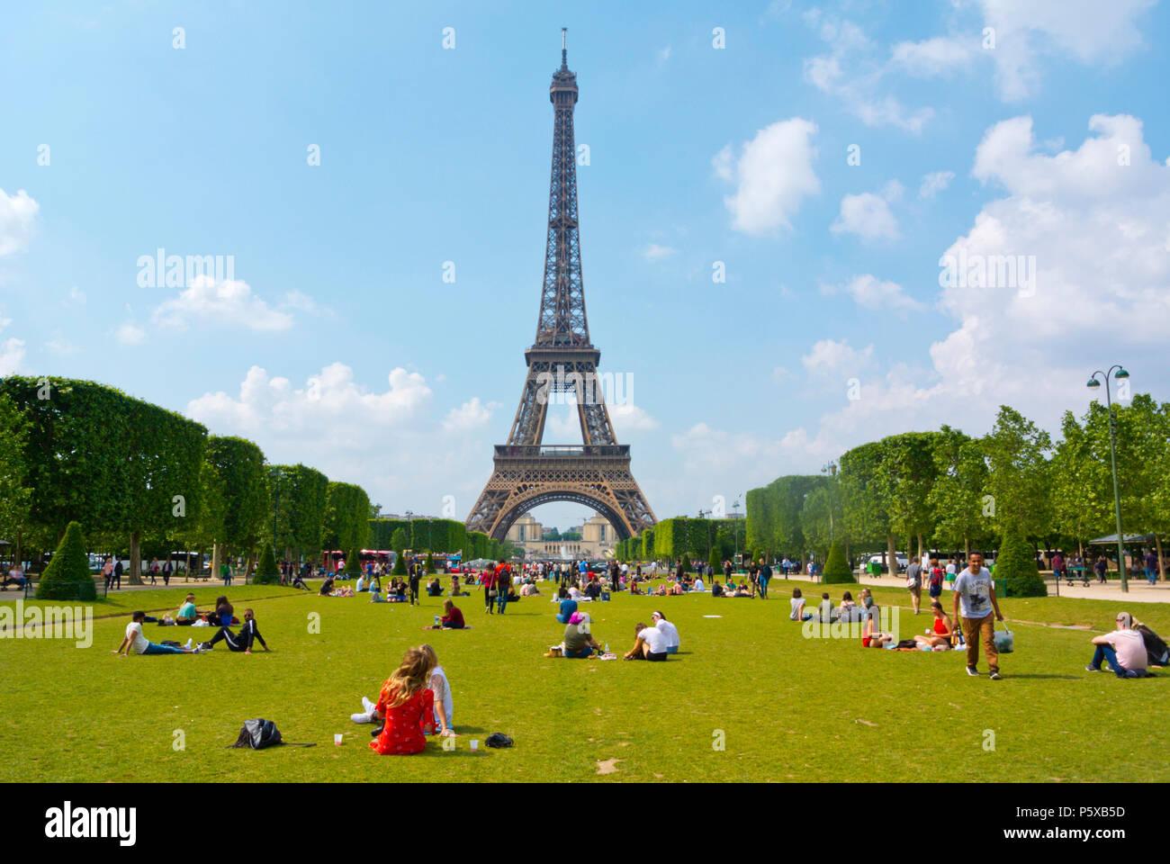 Eiffel tower, seen from Champ de Mars, Paris, France - Stock Image