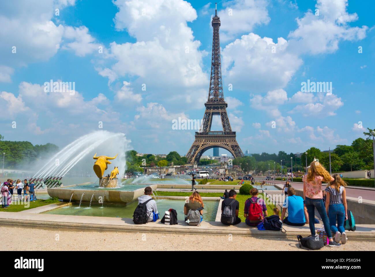 Eiffel tower, seen from Trocadero, Jardins du Trocadero, Place de Trocadero, Paris, France - Stock Image