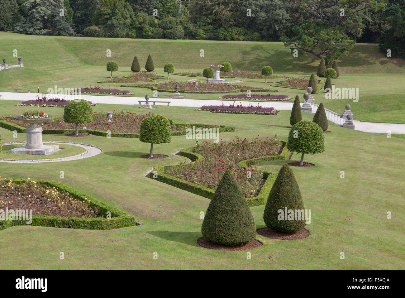 The Italian garden and Terraces at Powerscourt Garden in Ireland, a popular tourist attraction - Stock Image