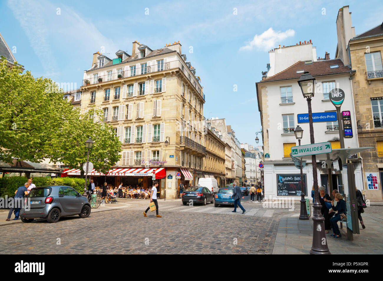 Place Saint Germain des Pres, St Germain des Pres, Left Bank, Paris, France - Stock Image