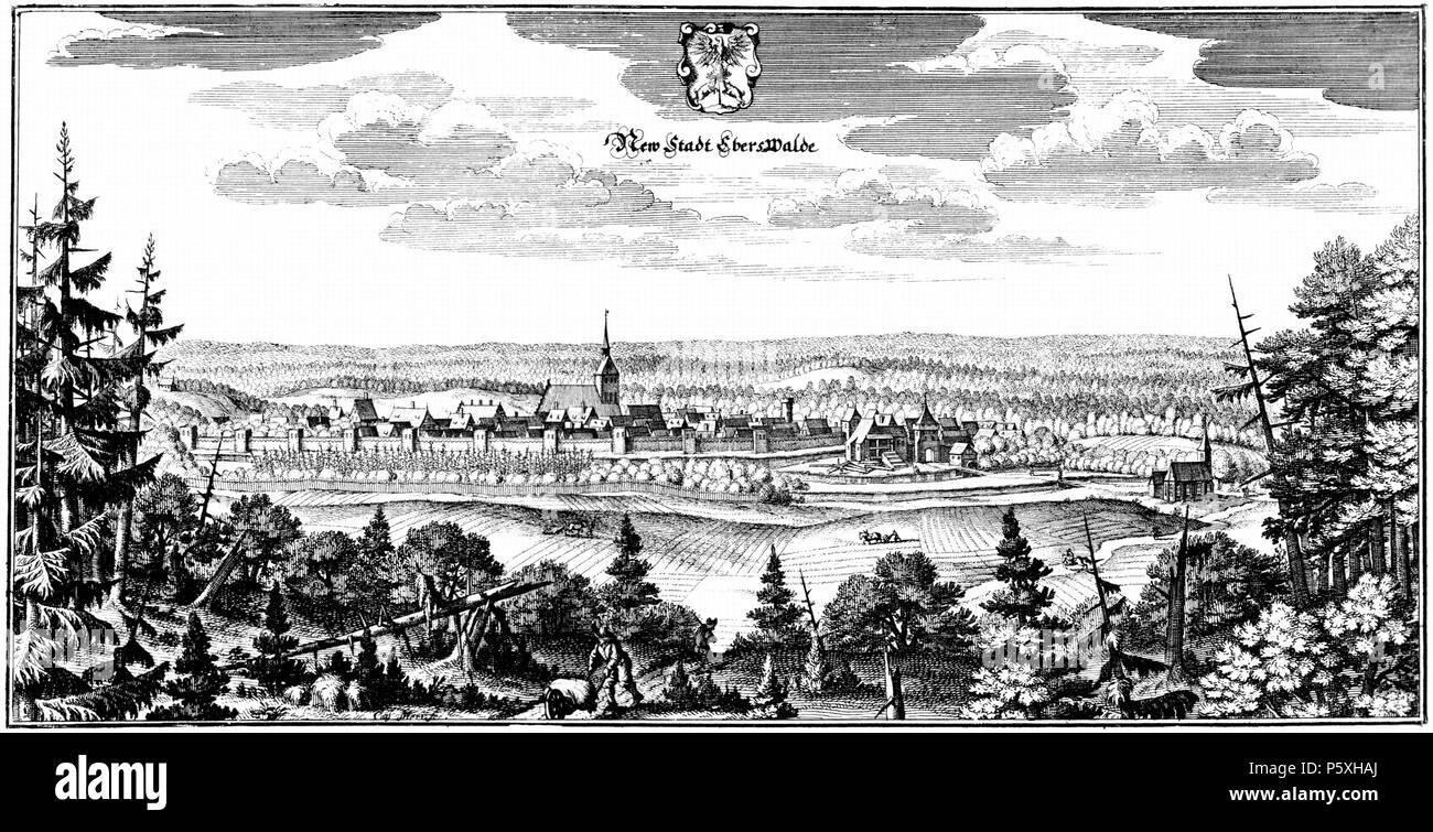 N/A.  Deutsch: Eberswalde. - Gesamtansicht, Historische Ortsansicht. Signatur unten (links von der Schubkarre) Cas. Meri..fec.(it)  N/A 491 Eberswalde-1652-Merian - Stock Image